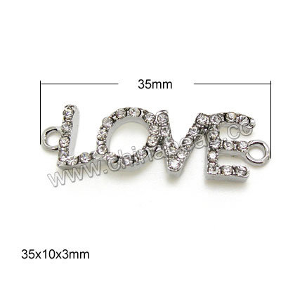 Zinc alloy rhinestone connectors in platinum plating with color #01 crystal stones, Love, Approx 35x10x3mm, Hole: Approx 2mm, 100pcs per bag, Sold by Bags