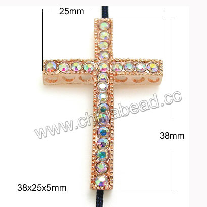 Zinc alloy rhinestone connectors in rose gold plating with color #02 crystal rainbow stones, Cross, Approx 38x25x5mm, Hole: Approx 2mm, 100pcs per bag, Sold by Bags