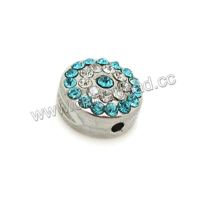 Zinc alloy rhinestone beads in platinum plating with color #05 aqua blue and crystal stones, Disc, Approx 10x5mm, Hole: Approx 2mm, 100pcs per bag, Sold by Bags