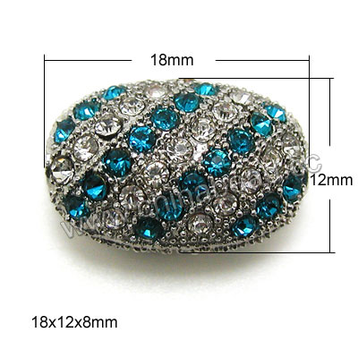 Zinc alloy rhinestone beads in platinum plating with color #21 blue zircon and crystal stones, Puffy oval, Approx 18x12x8mm, Hole: Approx 1.5mm, 100pcs per bag, Sold by Bags