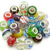 European style beads, Large hole lampwork glass bead with brass core in platinum plating, Assorted colors, Smooth rondelle, Approx 14x11mm, Hole: Approx 5mm, 100pcs per bag, Sold by bags