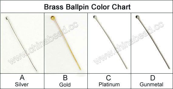 Jewelry Findings, Brass ballpin in platinum plating, Length 70mm, Thickness 0.6mm with 1.5mm ball, Lead & cadmium free, 1000pcs per bag, Sold by Bags