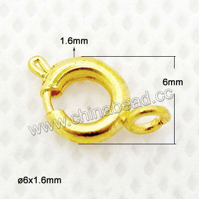 Jewelry Findings, Brass spring ring clasp in gold plating, Approx dia. 6mm and thickness 1.6mm, Hole: Approx 1mm, Lead & cadmium free, 200pcs per bag, Sold by bags