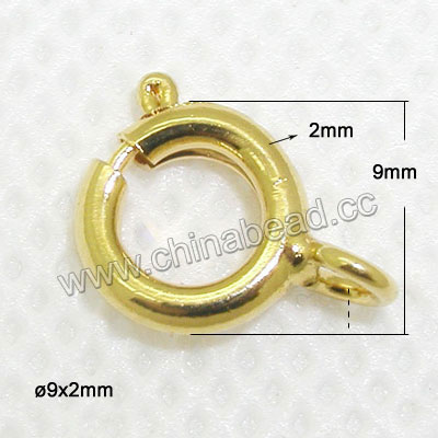 Jewelry Findings, Brass spring ring clasp in gold plating, Approx dia. 9mm and thickness 2mm, Hole: Approx 1.2mm, Lead & cadmium free, 200pcs per bag, Sold by bags