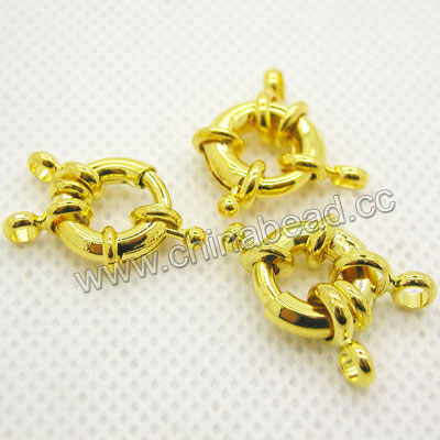 Jewelry Findings, Brass spring ring clasp in gold plating, Approx dia. 13mm and thickness 3.5mm, Hole: Approx 2mm, Lead & cadmium free, 100pcs per bag, Sold by bags