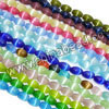 Cat eye glass beads, Assorted colors, Smooth oval, Approx 6x9mm, Hole: Approx 1mm, 40pcs per strand, Sold by strands