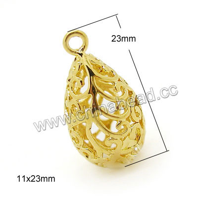 Metal beads, Brass charm bead, Gold plating, Hollow teardrop, Approx 11x23mm, Lead and cadmium free, Hole: Approx 1.5mm, 100 pieces per bag, Sold by bags