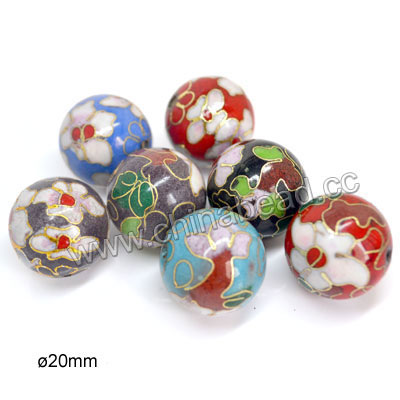Cloisonne beads, Assorted colors, Floral pattern, Smooth round, Approx 20mm, Hole: Approx 2mm, 100pcs per bag, Sold by bags