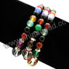 Fashion stretch gemstone bracelets, 6mm smooth round multi-colored agate beads, 10mm and 6mm fancy spots glass beads, 5x4mm zinc alloy spacer beads in antique silver plating, Multi-colored, Approx 540mm in length, Sold by strands