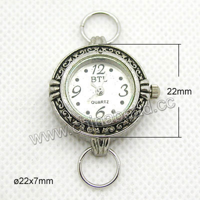 Fashion jewelry watch head, Round zinc alloy quartz watch head in antique silver plating, Nice component for making watch jewelry, Approx 22x22x7mm, Sold by pieces