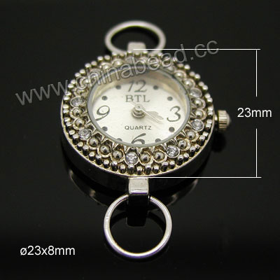 Fashion jewelry watch head, Round zinc alloy quartz watch head with rhinestone stones in platinum plating, Nice component for making watch jewelry, Approx 23x23x8mm, Sold by pieces