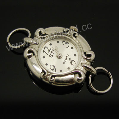 Fashion jewelry watch head, Oval zinc alloy quartz watch head in platinum plating, Nice component for making watch jewelry, Approx 23x27x7mm, Sold by pieces