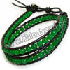Fashion leather cord gemstone bracelets, 4mm smooth round green candy jade beads wrap with 1.5mm black leather cord and 4 folded beading thread, 14x11mm brass button clasp in platinum plating, Green, Approx 420mm in length, Adjustable, Sold by strands