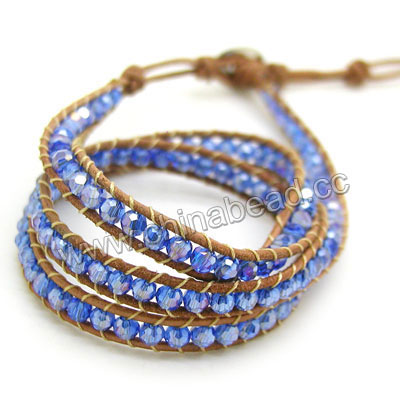 Fashion leather cord glass beaded bracelets, 4mm faceted round crystal beads wrap with 1.5mm light brown leather cord and 4 folded beading thread, 14x11mm brass button clasp in platinum plating, Blue AB, Approx 600mm in length, Adjustable, Sold by strands