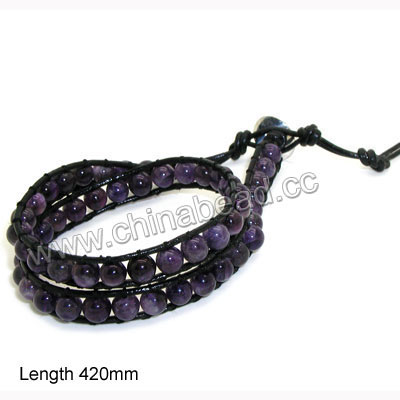 Fashion leather cord gemstone bracelets, 6mm smooth round amethyst beads wrap with 1.5mm black leather cord and 4 folded beading thread, 14x11mm brass button clasp in platinum plating, Amethyst, Approx 420mm in length, Adjustable, Sold by strands