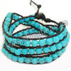 Fashion leather cord gemstone bracelets, 6mm smooth round blue howlite beads wrap with 1.5mm black leather cord and 4 folded beading thread, 14x11mm brass button clasp in platinum plating, Blue, Approx 600mm in length, Adjustable, Sold by strands