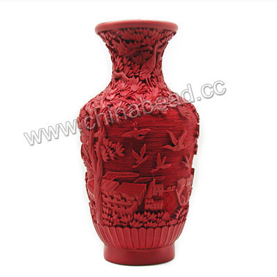 Cinnabar vase, Red, Carved flower and bird pattern, Approx 88x180mm, Sold by pieces