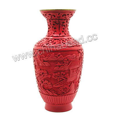 Cinnabar vase, Red, Carved landscape pattern, Approx 88x180mm, Sold by pieces