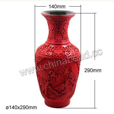 Cinnabar vase, Red, Carved flower pattern, Approx 140x290mm, Sold by pieces