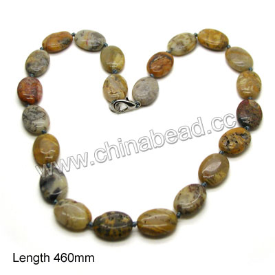 Fashion gemstone necklace, 13x18x6mm flat oval multi-colored gemstone beads, 12x7x3mm brass lobster claw clasp in platinum plating, Approx 460mm in length, Sold by strands