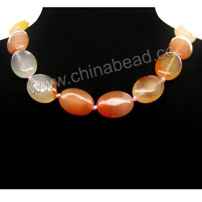 Fashion gemstone necklace, 13x18x6mm flat oval carnelian beads, 12x7x3mm brass lobster claw clasp in platinum plating, Approx 460mm in length, Sold by strands