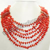 Fashion gemstone necklace, 6x9mm bright red coral chips and 45x20x8mm faceted oval carnelian focal beads, 16mm brass spring ring clasp in platinum plating, Approx 500mm in length, Sold by strands