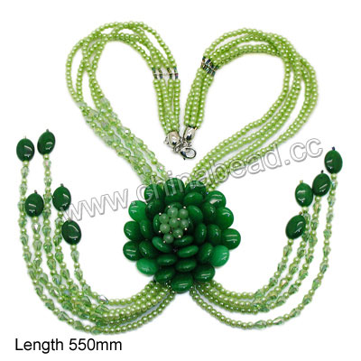 Fashion gemstone necklace, 6mm smooth round,15x20x8mm smooth flat teardrops and 13x18x6mm smooth flat oval green candy jade beads, 4mm light green glass pearls, 6x8mm faceted teardrop light green AB crystal beads, 12x7x3mm brass lobster claw clasp with extender chain in platinum plating, Approx 550mm in length, Sold by strands