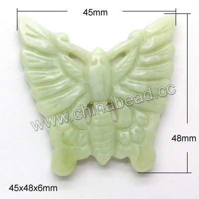 Semi-precious hsiu jade hand carved pendant, Light green, Beautiful butterfly, Approx 45x48x6mm, Sold by pieces