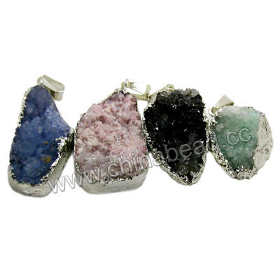Fashion gemstone pendants, Druzy quartz pendants in assorted colors and shapes with silver plated brass frame, Nice natural pattern, Approx 30x20x13mm to 42x26x13mm, Hole: Approx 4mm, 20 pieces per bag, Sold by bags