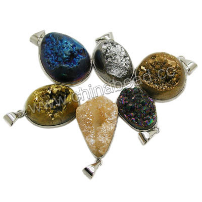 Fashion gemstone pendants, Druzy quartz pendants in assorted colors and shapes with platinum plated brass frame, Nice natural pattern, Approx 30x20x13mm to 42x26x13mm, Hole: Approx 4mm, 20 pieces per bag, Sold by bags