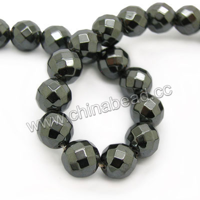 Gemstone Beads, Hematite, Faceted round, Black, Approx 8mm, Hole: Approx 1mm, 49 pieces per strand, Sold by strands