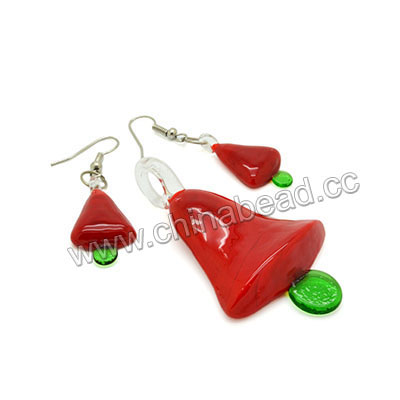 Fashion jewelry sets, Handmade lampworked glass pendant & earrings, 59x35x9mm & 27x15x5mm Christmas bells, Hole: approx 7mm and 1mm, Earrings length approx 48mm with silver plated metal hook earwires, 5 sets per bag, Sold by bags