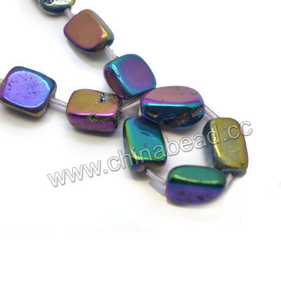 Gemstone beads, Druzy quartz with rainbow plating, Nugget, Approx 10-14 x 12-16mm, Hole: Approx 0.8mm, Approx 20 pieces per strand, Sold by strands