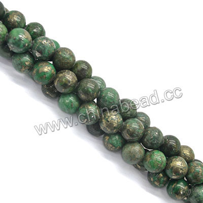 Gemstone Beads, Pyrite, Green, Smooth round, Approx 12mm, Hole: Approx 1mm, 33 pieces per strand, Sold by strands