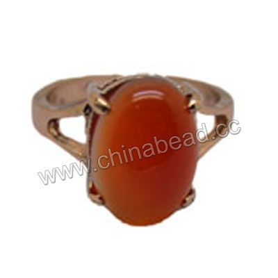 Fashion gemstone rings, Multi-colored agate 15x10x5mm oval cab, 20mm brass ring in rose gold plating, Approx 27mm height, Sold by pieces