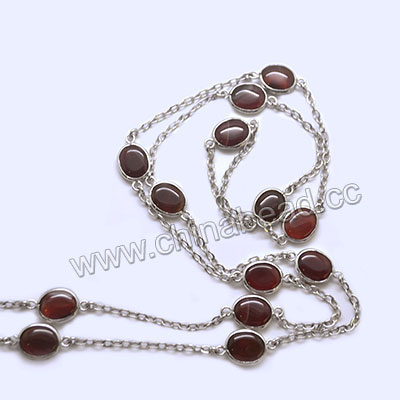 Fashion gemstone necklace, Red agate 11x10x5mm ovals and brass chain in platinum plating, Approx 1000mm in length, Sold by strands