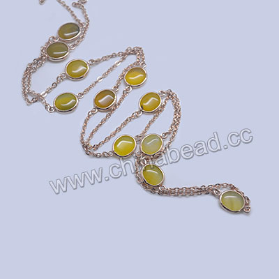 Fashion gemstone necklace, Yellow agate 11x10x5mm ovals and brass chain in rose gold plating, Approx 1000mm in length, Sold by strands