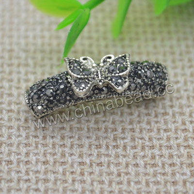 Zinc alloy rhinestone beads in antique silver plating with hematite stones, Curved tube and butterlfy, Approx 27x7mm, Hole: Approx 4mm, 100 pieces per bag, Sold by bags