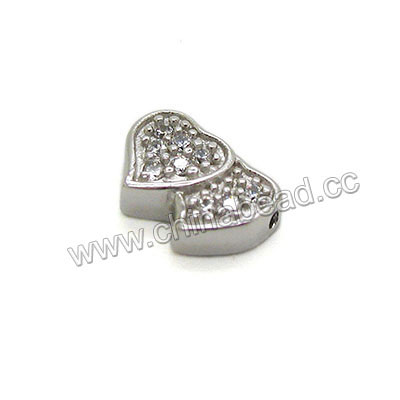 Jewelry beads, 925 sterling silver bead with micro pave CZ stones in platinum color, Double hearts, approx 11.7x7.7x3.6mm, Hole: approx 0.8mm, 12 pieces per bag, Sold by bags