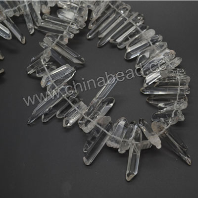 Gemstone beads, Smooth clear quartz bar, Approx 20-46 x 4-10mm, Hole: Approx 0.8mm, Approx 55 - 60 pieces per strand, Sold by strands