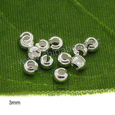 Jewelry findings, 925 sterling silver crimp bead covers in silver color, Approx 3mm, Hole: approx 1.5mm, 500 pieces per bag, Sold by Bags
