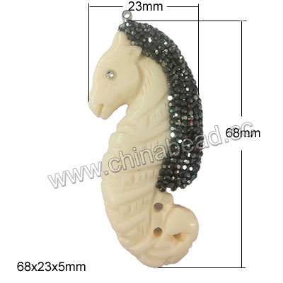 Fashion natural bone pendant with micro pave rhinestones, Seahorse, White, Approx 68x23mm, Hole: Approx 3mm, 10 pieces per bag, Sold by bags