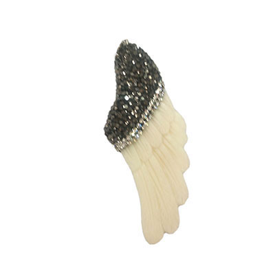 Fashion natural bone pendant with micro pave rhinestones, Angel wing, White, Approx 78x22x5mm, Hole: Approx 3mm, 10 pieces per bag, Sold by bags