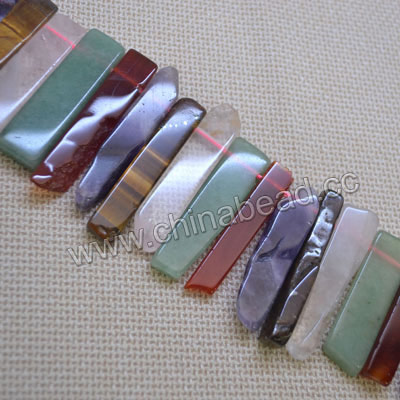Gemstone beads, Multi-colored stones, Graduated irregular bars, Approx 13x11x9 - 42x10x9mm, Hole: Approx 1.5mm, 42 pieces per strand, Sold by strands