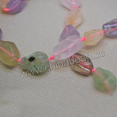 Gemstone beads, Multi-colored quartz, Faceted nuggets, Approx 30x20mm, Hole: Approx 1mm, 12 pieces per strand, Sold by strands