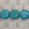 Gemstone Beads, Magnesite, Turquoise blue, Smooth puffy disc, Approx 12x5mm, Hole: Approx 1mm, 33 pieces per strand, Sold by strands
