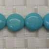 Gemstone Beads, Magnesite, Turquoise blue, Smooth puffy disc, Approx 14x6mm, Hole: Approx 1mm, 28 pieces per strand, Sold by strands