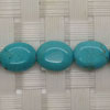 Gemstone Beads, Magnesite, Turquoise blue, Smooth puffy flat oval, Approx 15x10x4mm, Hole: Approx 1mm, 27 pieces per strand, Sold by strands