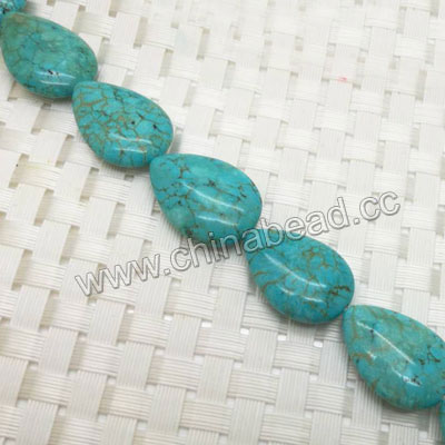 Gemstone Beads, Magnesite, Turquoise blue, Smooth puffy flat teardrop, Approx 25x18x6mm, Hole: Approx 1mm, 16 pieces per strand, Sold by strands