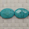 Gemstone Beads, Magnesite, Turquoise blue, Faceted flat oval, Approx 25x18x6mm, Hole: Approx 1mm, 16 pieces per strand, Sold by strands